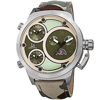 Joshua & Sons Men's 50mm Case Centric Circles Dial on Canvas Camouflage Strap Watch JX131GN