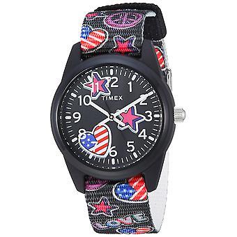 Timex Mädchen Zeitmaschinen schwarz/Sterne & Flags Nylon Armband Uhr TW7C23700