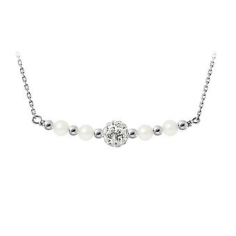 White Cultured Pearls, Crystal and Silver 925 Necklace