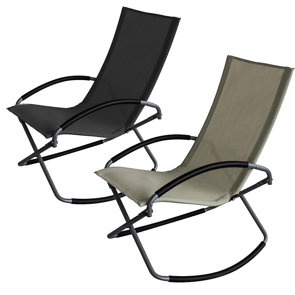 Trueshopping Como Leisure Chair Foldable Textilene Fabric Rocking Chair