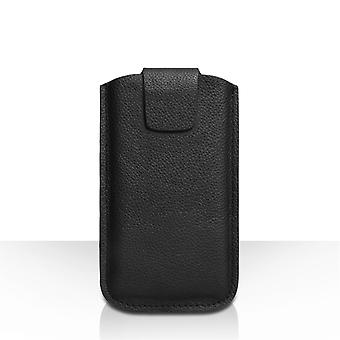 Caseflex Large Real Leather Textured Phone Pouch Black