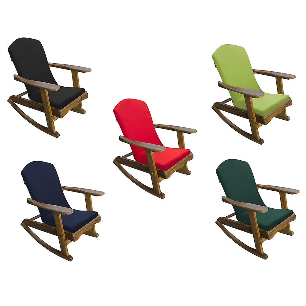 Trueshopping Adirondack Teak Hardwood Garden Rocking Chair with Cushion