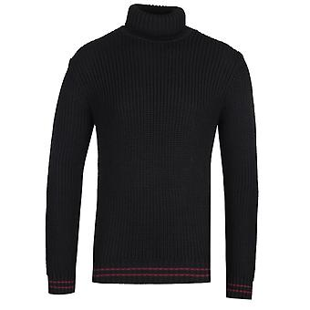 Edwin Contrast Stripe Black Roll Neck Sweater
