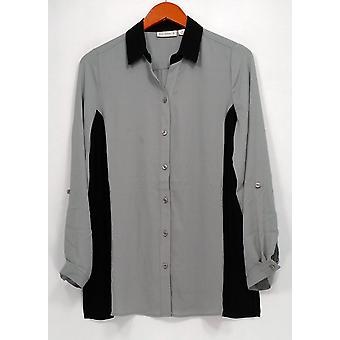 Susan Graver Femmes apos;s Top Long Sleeve Color Blocked Black A269217