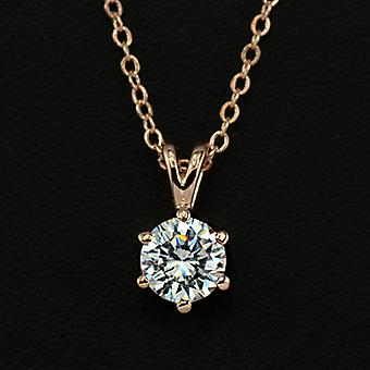 18K Gold Plated 6 Prongs 1.5 Carat Cubic Zirconia Necklace