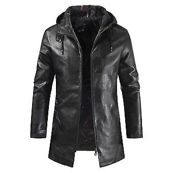 Allthemen Men-apos;s Fashion Zipper Mid-Long Manteau en cuir