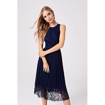 Robe Little Mistress Nadja Navy Lace Pleat Midi
