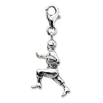 925 Sterling Silver Antique finish Fancy Lobster Closure 3.d Antiqued Football Player With Lobster Clasp Charm - Measure