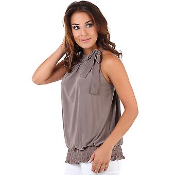 KRISP Halter Neck Draped Ruched Top Blouse Flattering Bow Tie Summer Party Evening