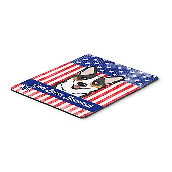 God Bless American Flag with Tricolor Corgi Mouse Pad, Hot Pad or Trivet BB2185MP