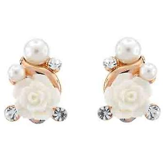 Clip On Earrings Store Acrylic White Rose and Pearl Clip On Earrings