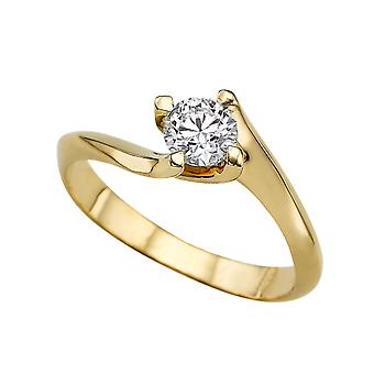 0.50 CT 5.00MM Moissanite Forever One Engagement Ring 14K Yellow Gold 4 Prongs Twist Round