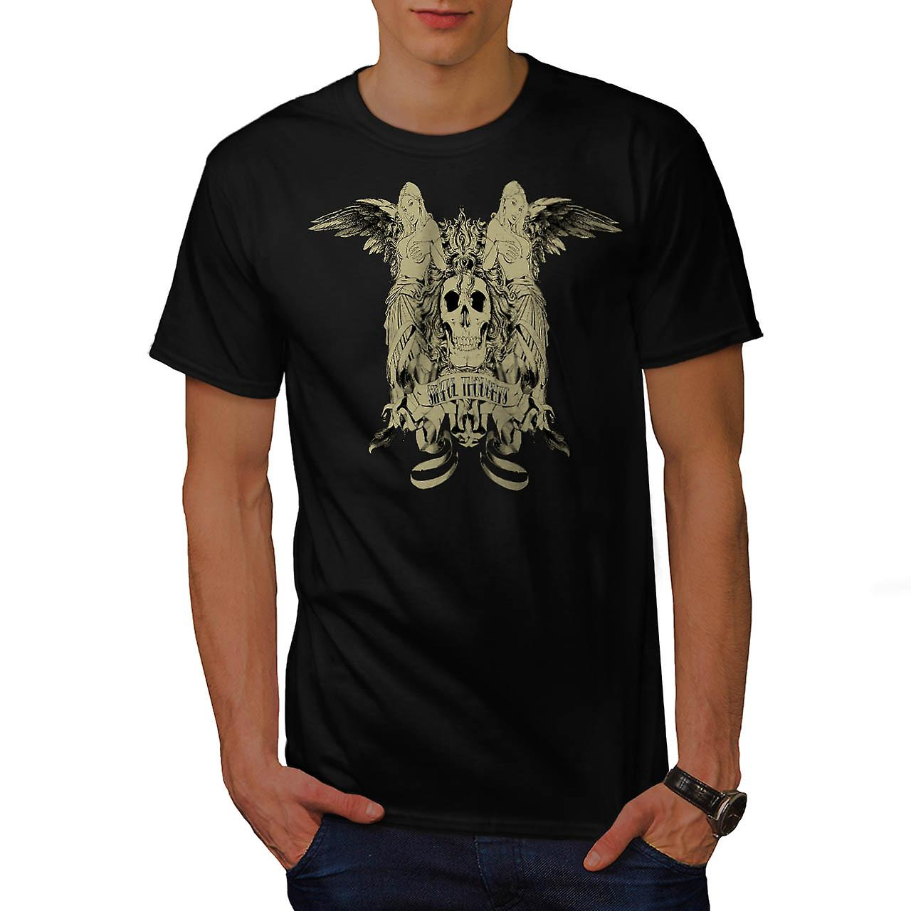 Sinful Thoughts City Skull Angel Men Black T-shirt | Wellcoda