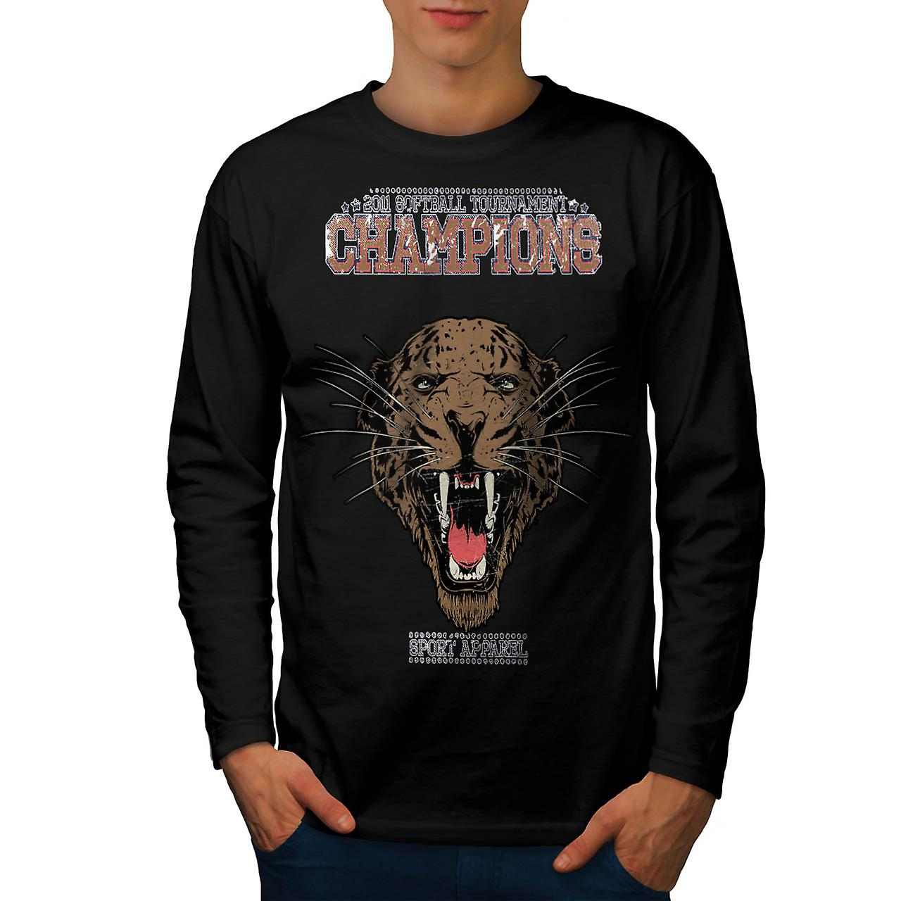 Cougar Sports Team Champions Men Black Long Sleeve T-shirt | Wellcoda