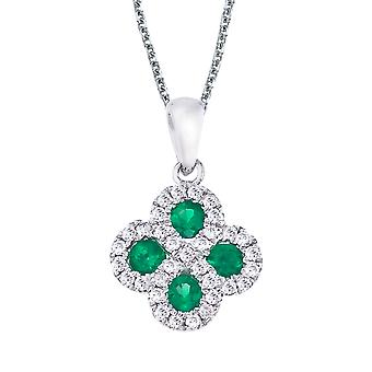 14k White Gold Emerald and .13 ct Diamond Clover Pendant with 18