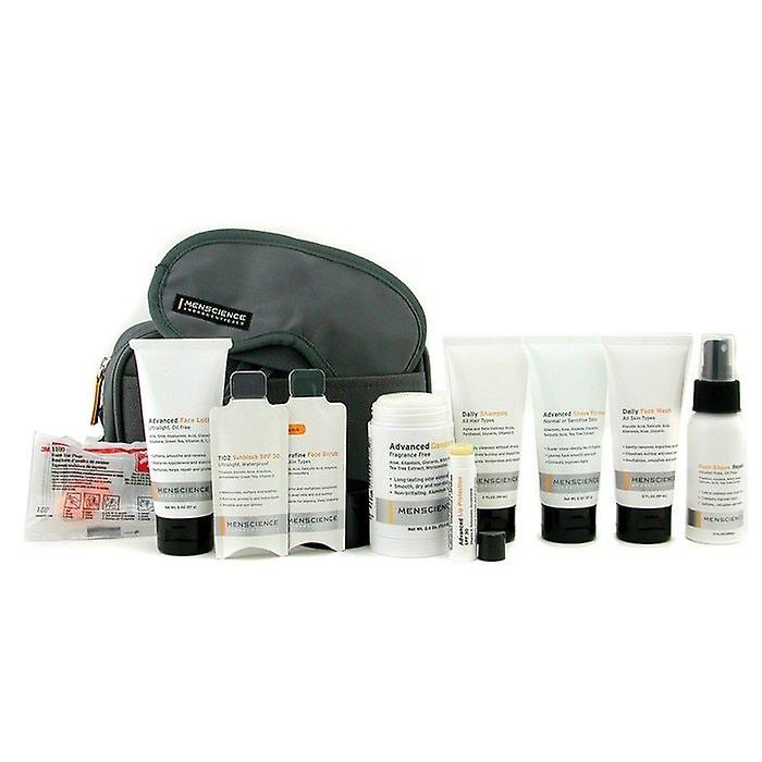Menscience Travel Kit: Face Wash + Lotion + Shave Formula + Post-Shave Repair + Shampoo + Deodorant + Lip Protection + Eye Mask + Ear Plugs + Bag 9pcs+1bag