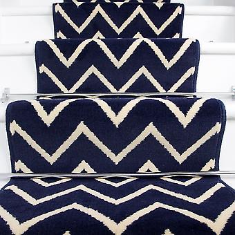 70cm Width - Modern Navy Zig Zag Chevron Stair Carpet
