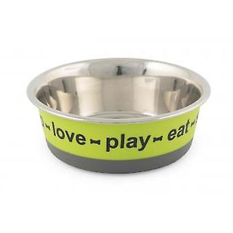 Fusion Stainless Steel Dog Dish Bone Lime/grey 17cm (Pack of 3)