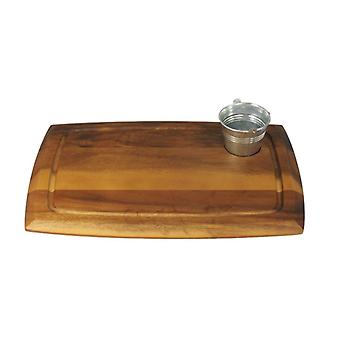 Wooden Serving Choping Rectangular Board with Circular Recess 36x25cm
