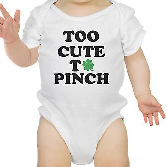 Too Cute To Pinch White Baby Bodysuit For St Patricks Day Cute Gift