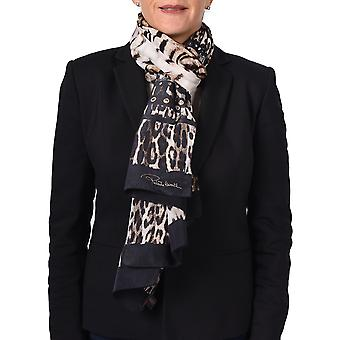 Roberto Cavalli Women's Leopard Skin Patterned Silk Scarf Brown