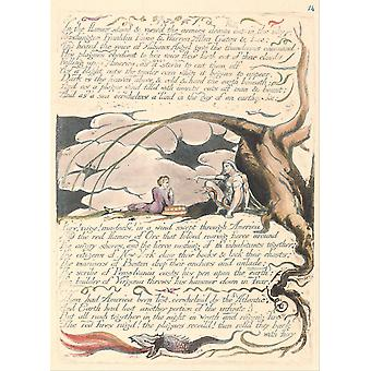 William Blake - In the Flames Stood Poster Print Giclee