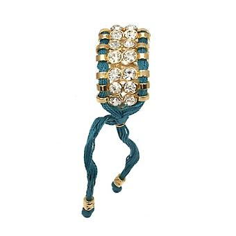 W.A.T Teal Cord And Crystal Macrame Bracelet