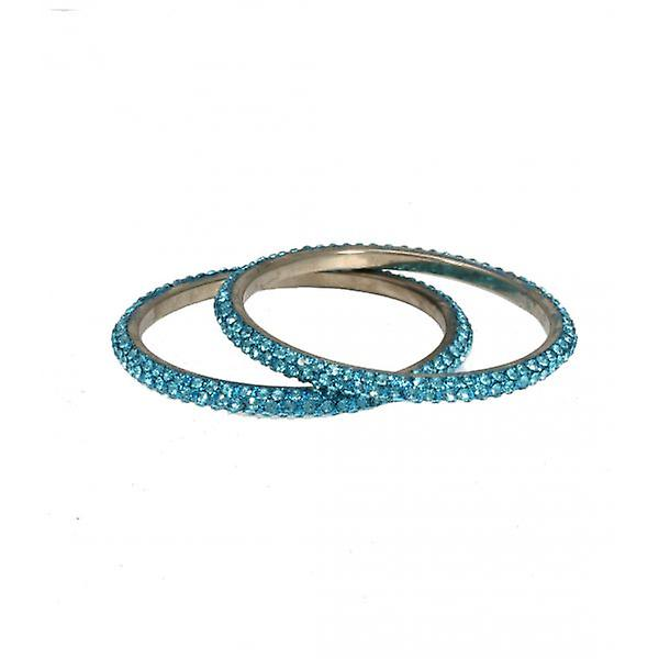 W.A.T Thin Crystal Bangle Set Turquoise Blue Crystals