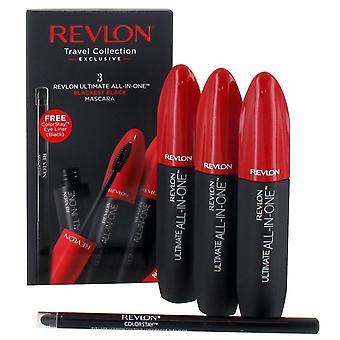 Revlon Ultimate Collection - 3 x All in One Mascara 8,5 ml - schwärzesten Schwarz und Colorstay Eyeliner - schwarz