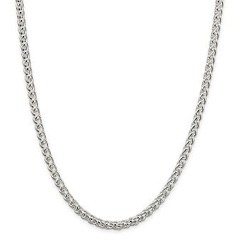 Sterling Silver Solid Polished Lobster Claw Closure Wheat Chain - 6mm - Lobster Claw - Length: 18 to 30