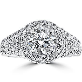 1 1 / 2ct diamante Halo anello di fidanzamento 14k oro bianco Vintage milligrana