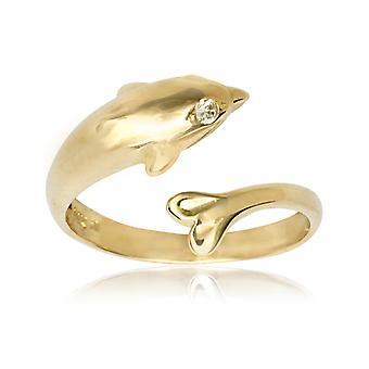 14 k Gelb Gold Zirkonia Top einstellbar Dolphin Körper Schmuck Zehenring