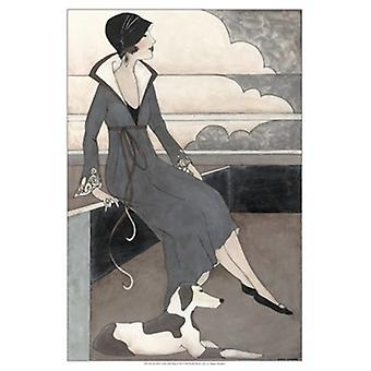 Art Deco Lady With Dog Poster Print by Megan Meagher (13 x 19)