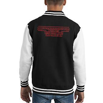 Stranger Things Steve Harrington Bat With Nails Quote Kid's Varsity Jacket