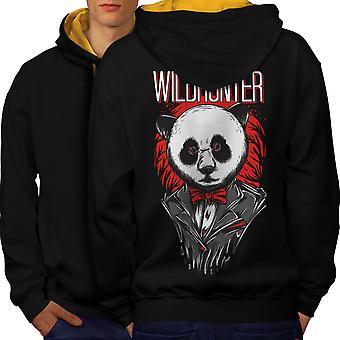 Wildhunter Animal Fashion Men Black (Gold Hood) Contrast Hoodie Back | Wellcoda