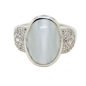 Cory Oval Shape Lab Created Fire Opal with Clear Accents Ring - Ginger Lyne Collection
