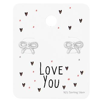Bow Ear Studs On Love You Card - 925 Sterling Silver Sets - W35881x