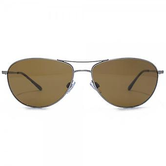 Giorgio Armani Frames Of Life Classic Pilot Sunglasses In Matte Gunmetal Polarised