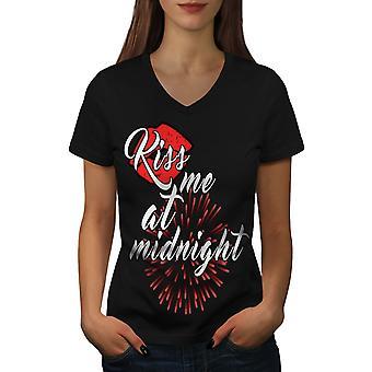 Me beso mujeres BlackV cuello camiseta nueva de medianoche | Wellcoda