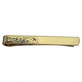 Hard Gold Plated 6x55mm half hand engraved Tie Slide