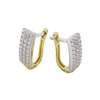 Bicolor gold earclips with zirconia