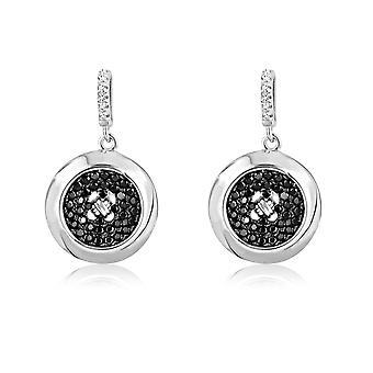 Oorbellen in zilver en 88 Cubic Zirconia witte en zwarte Swarovski kristallen