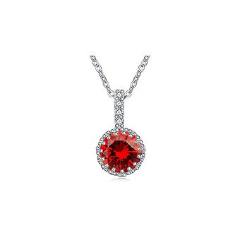 Красный кристалл кубического циркония кулон и родием пластины