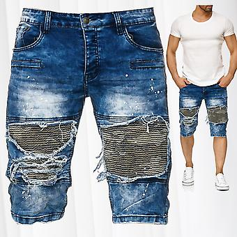 Men's Bermuda Jean shorts destroyed used StoneWashed biker color flush cracks
