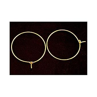 Paket 30 x Golden Messing Runde Glas Wein Charme Ring 0,8 mm x 25 mm HA12355