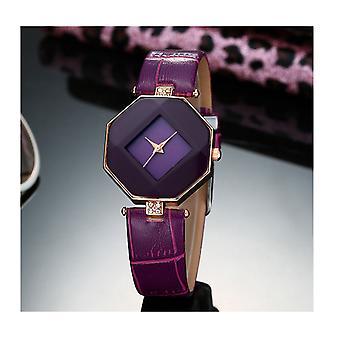 Forma inteligente diamante reloj joya púrpura