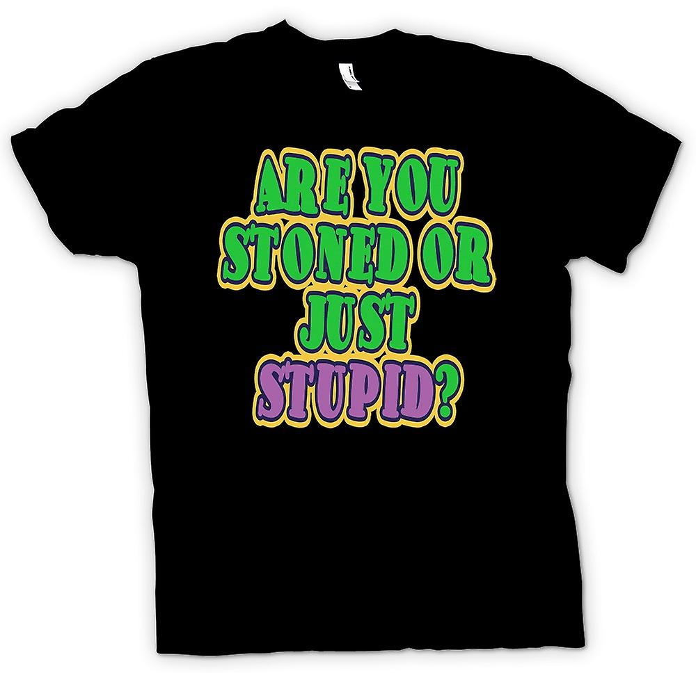 Mens T-shirt - Are you stoned or just stupid? - Quote