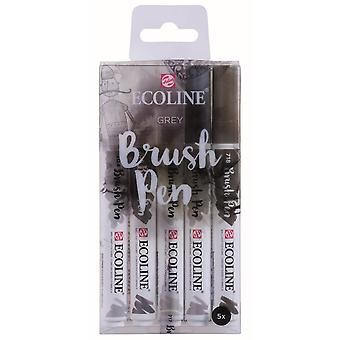 Royal Talens Ecoline Brush Pen Set Of 5 Grey