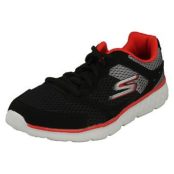 Boys Skechers Casual Lace Up Trainers Zodox 97681 - Black/Grey/Red Textile - UK Size 13 - EU Size 32 - US Size 1