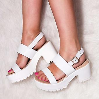 Spylovebuy AXE Platform Cleated Sole Block Heel Sandals Shoes - White Leather Style